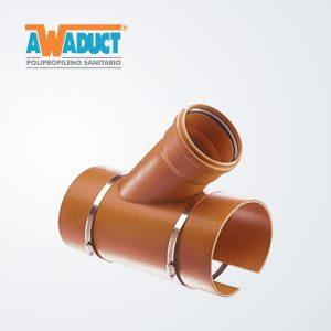 Ramal acople 45° 160×110 mm c/abraz Acero inox (6007) Awaduct