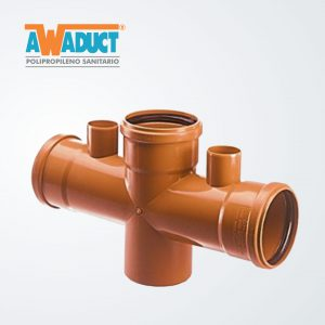 Ramal doble c/vent. 180º 110×110 mm (2051) Awaduct